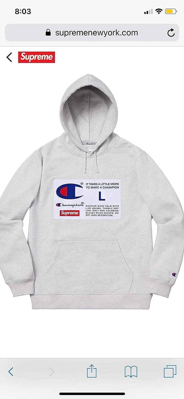 Com Supreme Champion Label Hooded Sweatshirt Hoo Ash Grey Fw18 100 Authentic Real Designer Rare Clothing