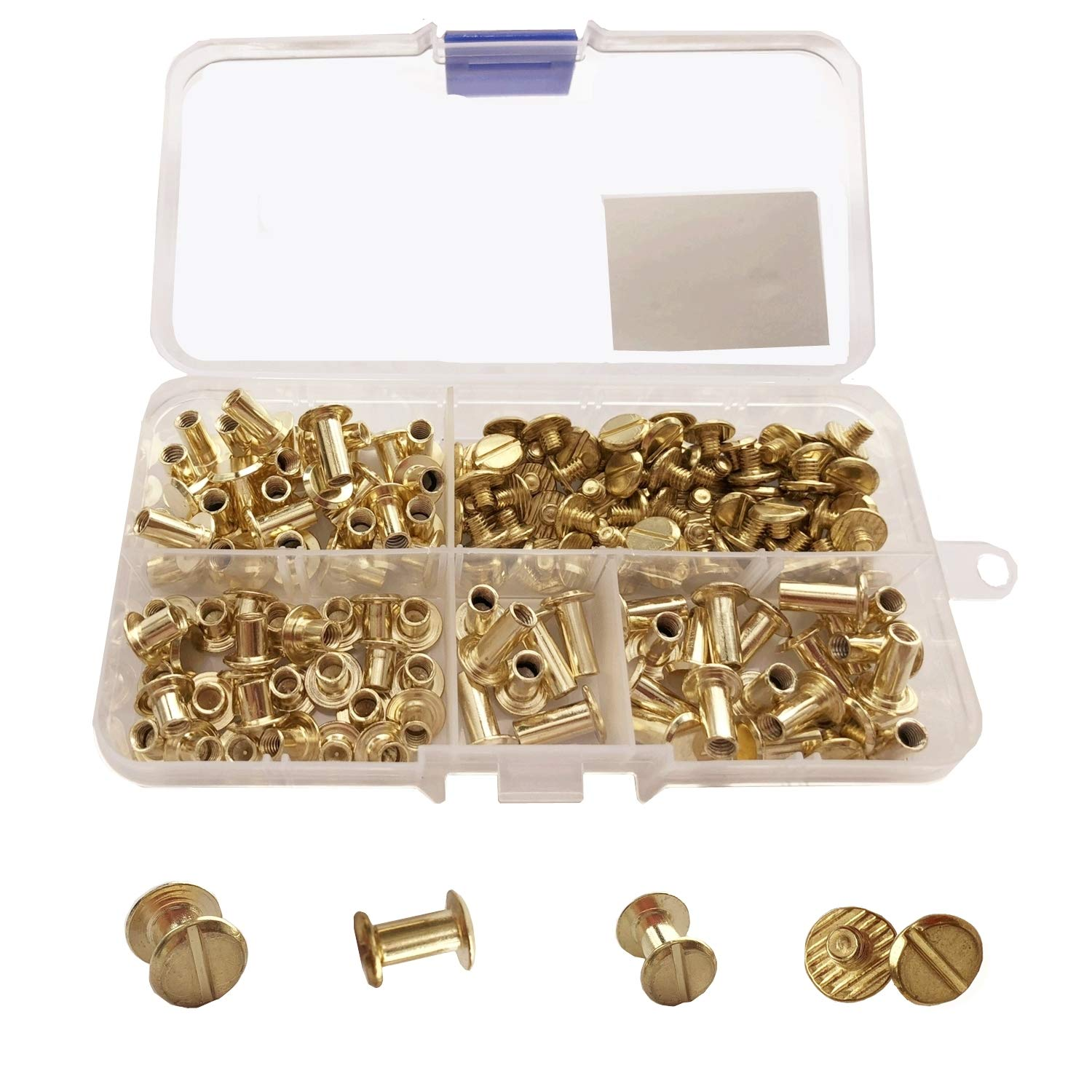 YMAISS 90 Sets Chicago Screws 3 Size 1/4,3/8,1/2in Screw Posts Bookbinding Posts Binding Screw Chicago Button Post Rivets Screw Belt Screws Leather Photo Albums Screw Round Flat Head, Gold Color