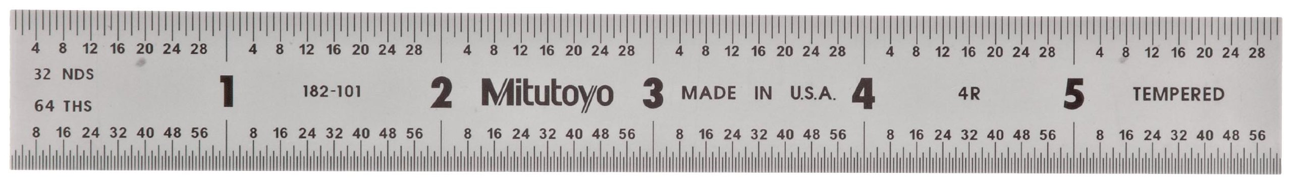 Mitutoyo 182-101, Steel Rule, 6'' (4R), (1/8, 1/16, 1/32, 1/64''), 3/64'' Thick X 3/4'' Wide, Satin Chrome Finish Tempered Stainless Steel
