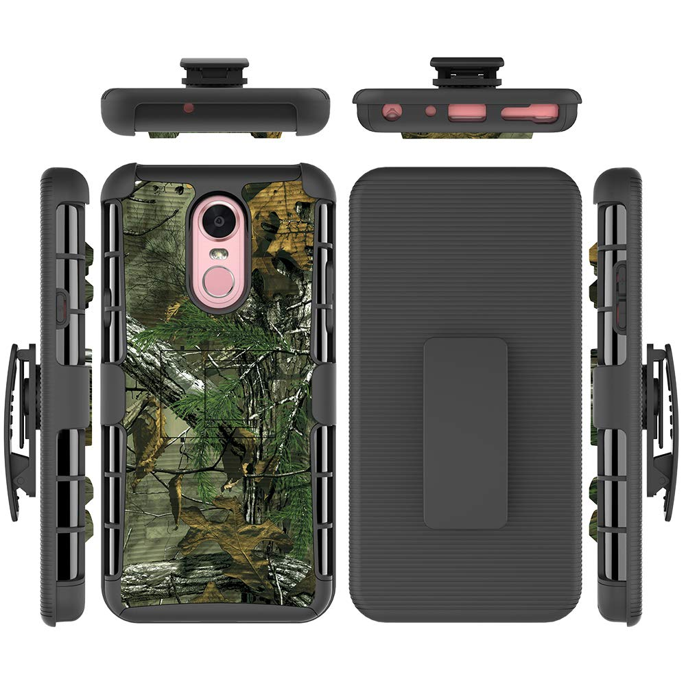 LG Stylo 4 2018 Case, FOLICE Hybrid Full-Body Protective Case Cover with Kickstand & Belt Clip Holster Combo for LG Stylo 4 / LG Q Stylus 4 / LG Stylo 4 (2018) (Camo)