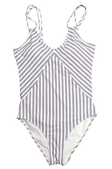 d6e325f451 Cupshe Fashion Women's Stripe Printing Halter One-Piece Padding Swimsuit  ,Multicolor,Small