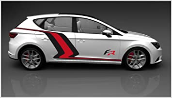 Seat Leon FR lateral de vinilo Decal Set (negro Color Rojo)