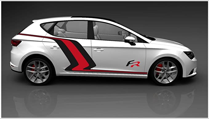 Seat Leon FR lateral de vinilo Decal Set (negro Color Rojo): Amazon.es: Coche y moto