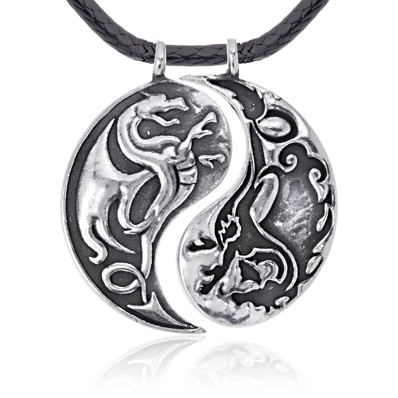 Dan's Jewelers Chinese Dragon Yin Yang Pendant Necklace, Fine Pewter Jewelry