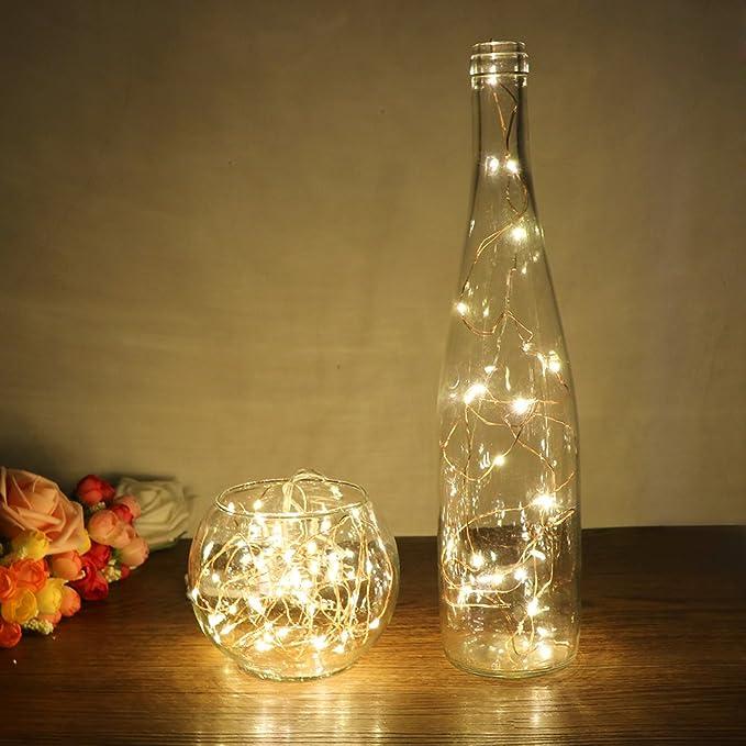 TiooDre 2 m / 6.5 pies 20-luz LED de cuerda de alambre de cobre para la mano de cristal Botella Incluye Hada de la lš¢mpara de la boda de San Valentšªn ...