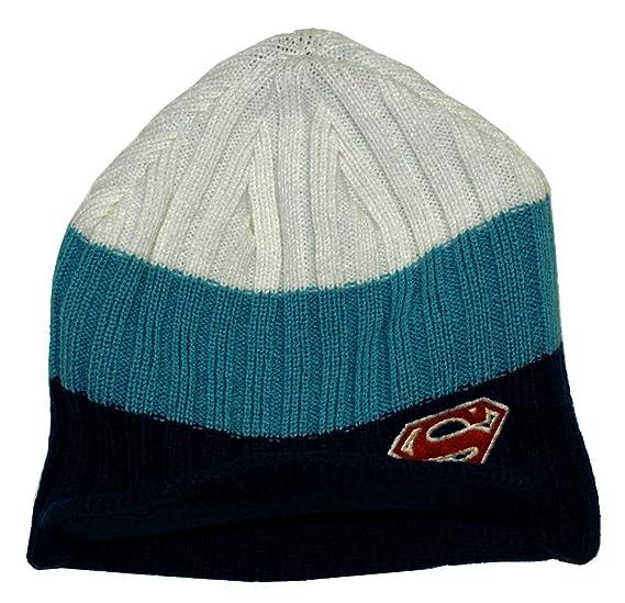 Amazon.com  Superman Logo Striped Knit Billed Beanie Hat  Clothing 34ed30a348a