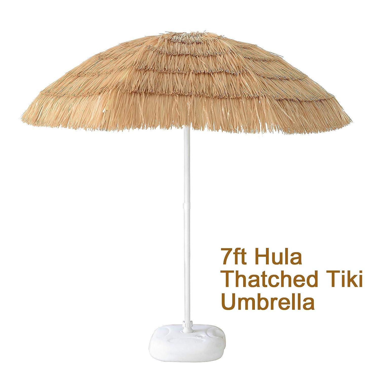 7ft Hula Thatched Tiki Umbrella Patio Hawaiian Style Beach Umbrella, Natural Color