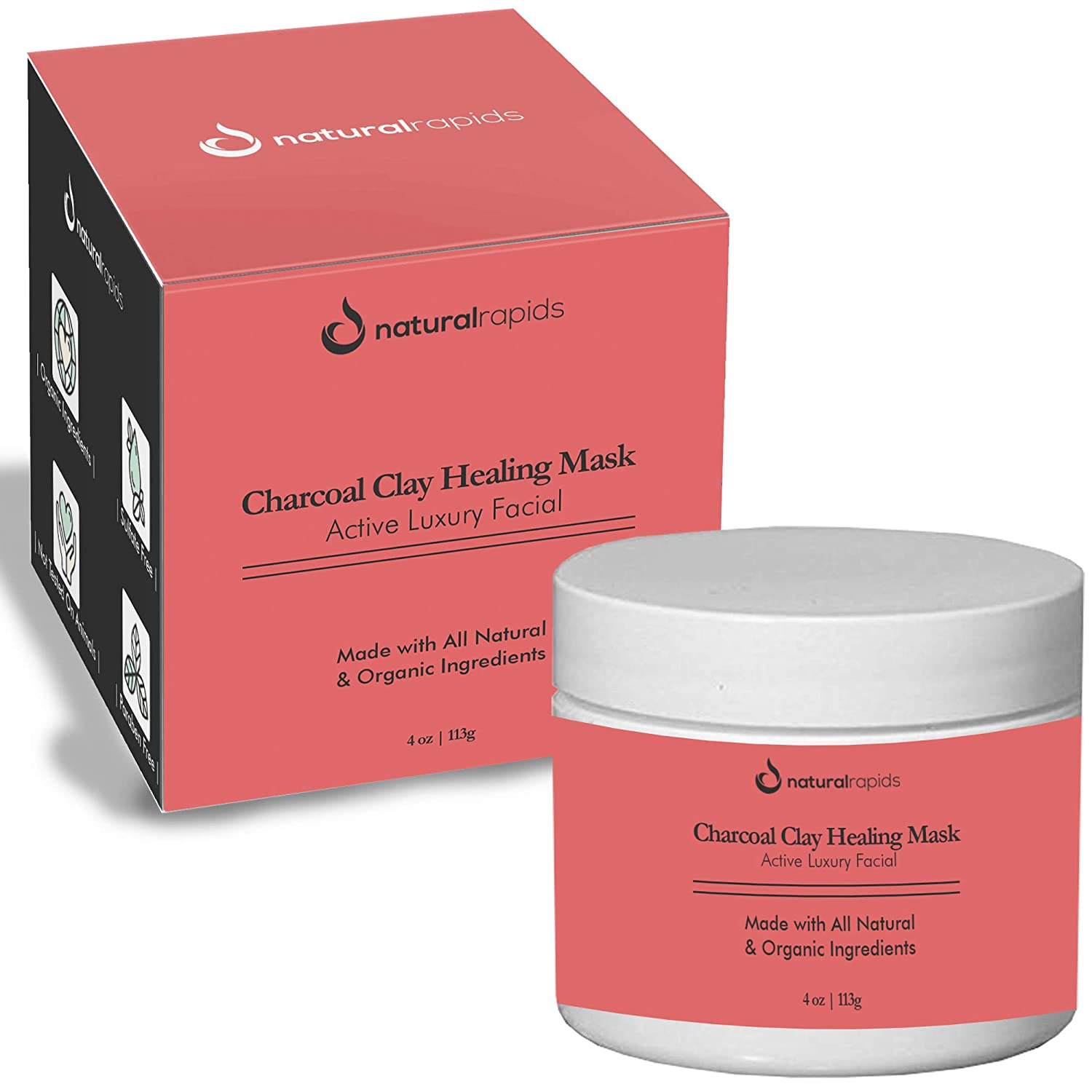 Healing Clay Charcoal Face Mask - Best For Blackheads And Acne Treatment - Calcium Bentonite Clay Black Mask - Facial Cleanser, Blackhead Remover, And Pore Minimizer Natural Rapids