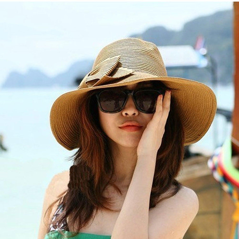 Amazon.com  MERSUII Big Big Floppy Hand Crocheted Holiday Travel Bohemia  Women Fashion Korean Large Wide Brim Bow Beach Sun Straw Hat Cap Sun Visor  Sun ... 75cda53535f7