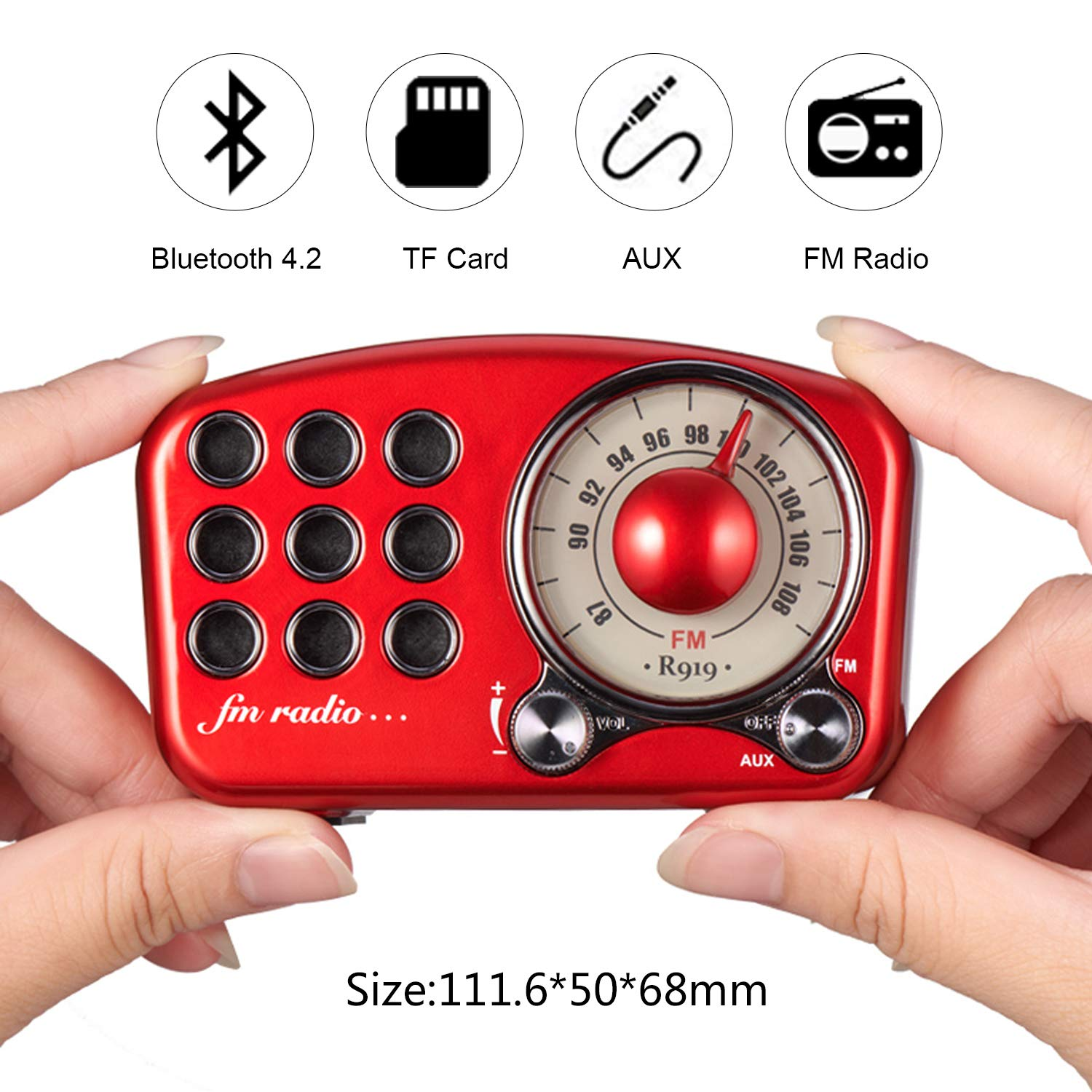 Strong Bass Enhancement Supports Bluetooth 4.2 AUX TF Card MP3 ...