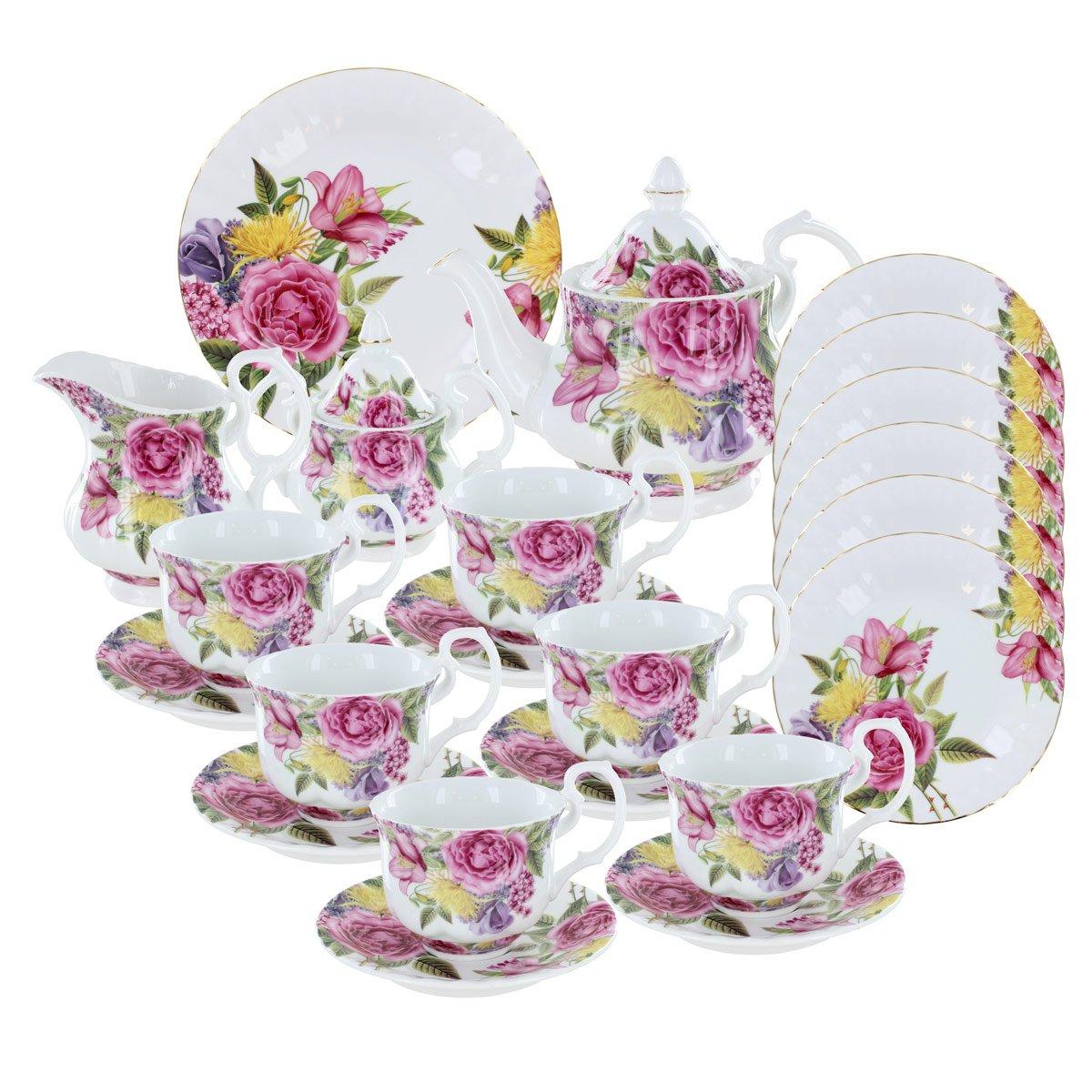 Floral Pageant Deluxe Porcelain Tea Set