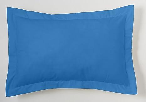 ES-TELA - Funda de cojín COMBI LISOS color Azul claro - Medidas 50x75+5 cm. - 50% Algodón-50% Poliéster - 144 Hilos - Acabado en pestaña