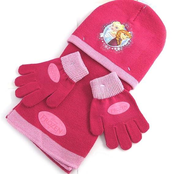 12c1d8c3f49f Reine des neiges N0492 - Ensemble enfant  Frozen framboise (gants + bonnet  + écharpe