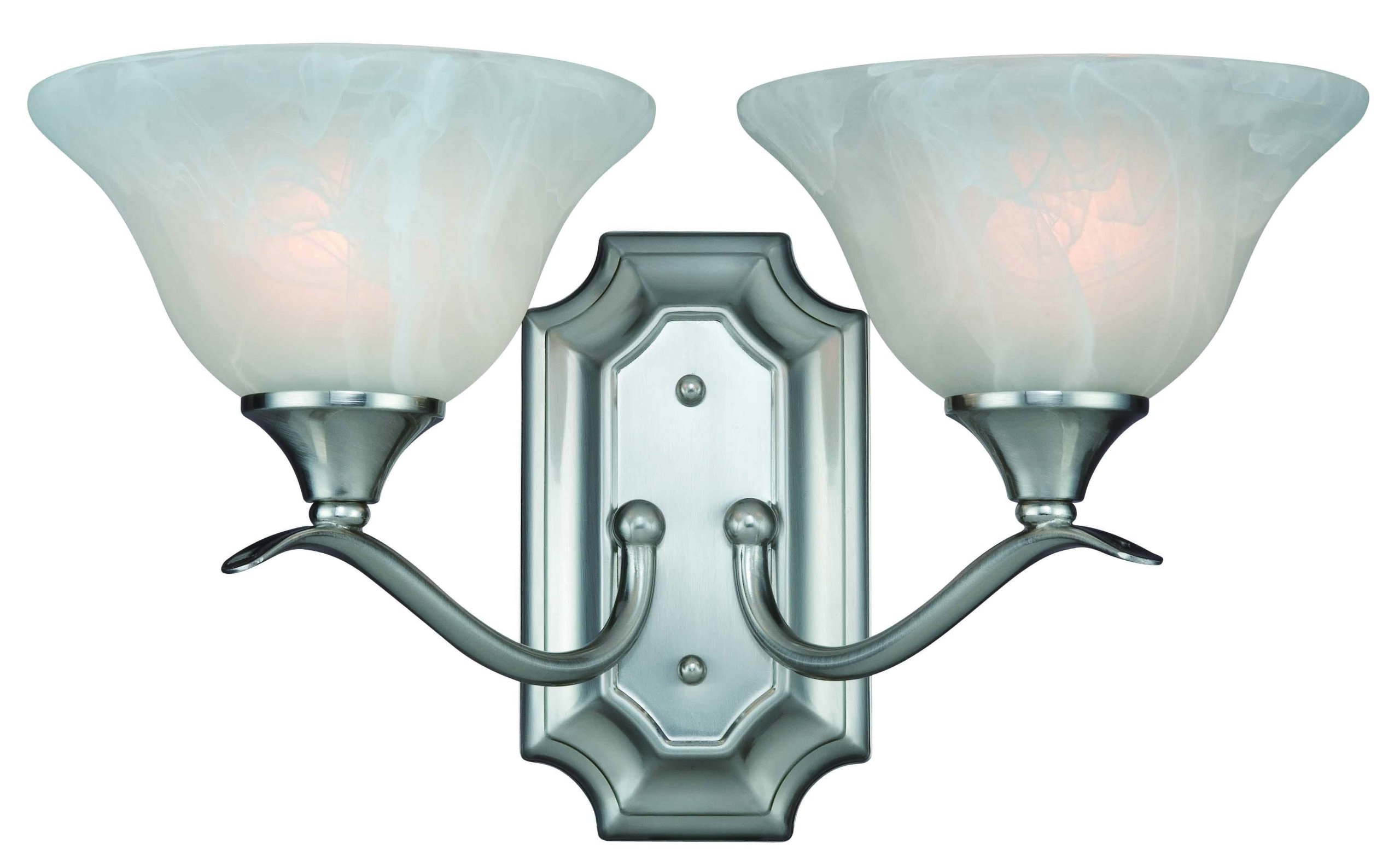 Hardware House H10-4692 Dover 2-Light Bath or Wall Fixture, Satin Nickel