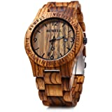 Bewell W086B Mens Wooden Watch Analog Quartz Lightweight Handmade Wood Wrist Watch