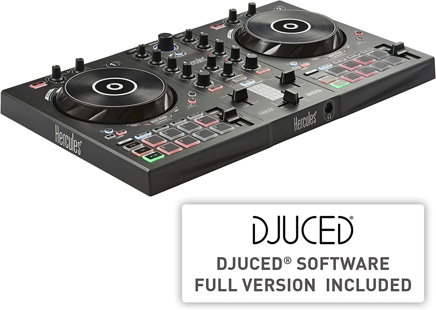 Hercules DJ Control Inpulse 300 | 2 Channel USB Controller, with Beatmatch Guide, DJ Academy, and full DJ software DJUCED included