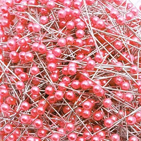 Wetco 800 Pcs 3.5 cm Round Pearl Head Pins Dressmaking Pins Corsage Florists Weddings Sewing Pin Deep Purple