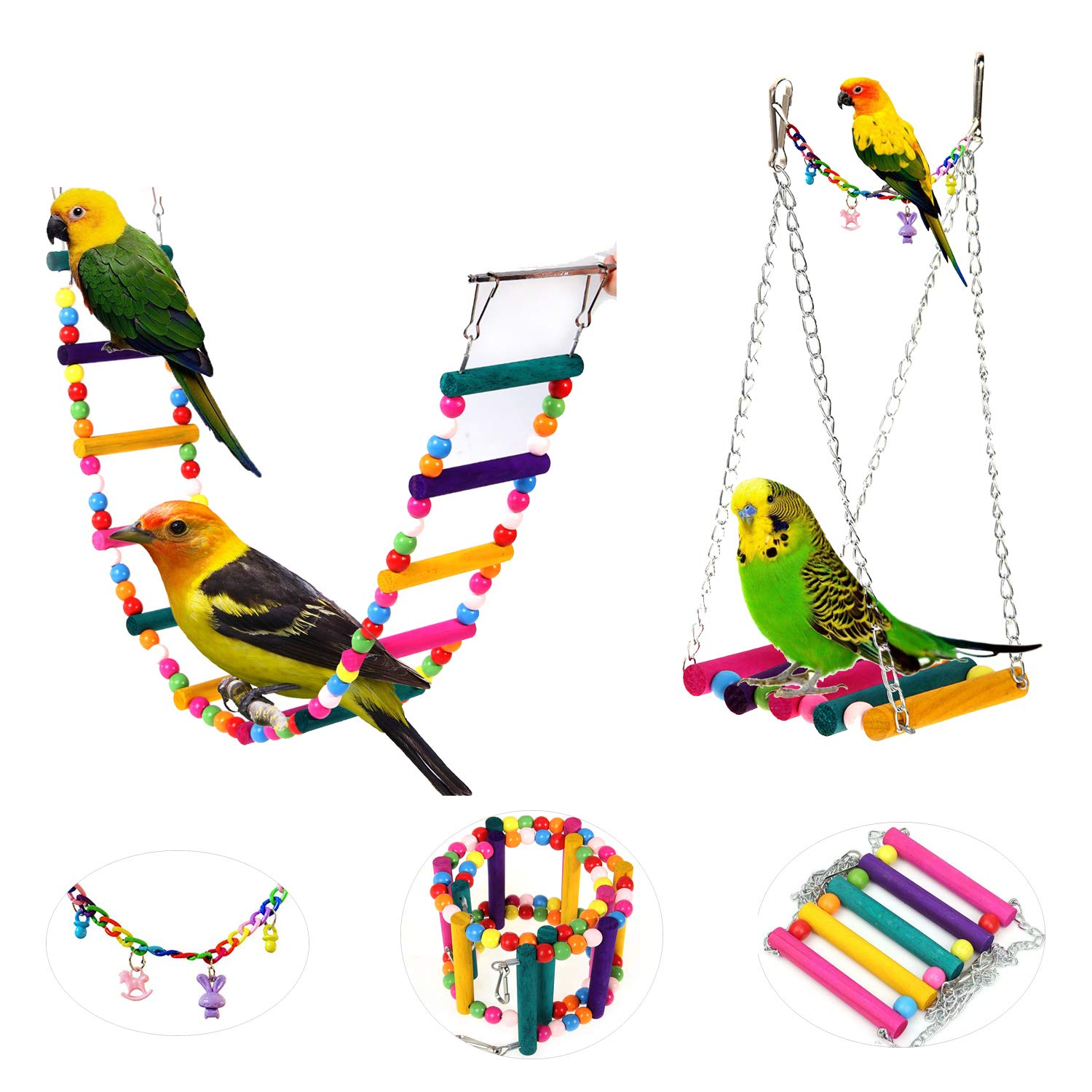 AnnaEye Pet Bird Parred Parakeet Budgie Cockatiel Cage Hammock Swing Toy Hanging Toy Swings Set,Ladders for Pet Trainning 3pcs
