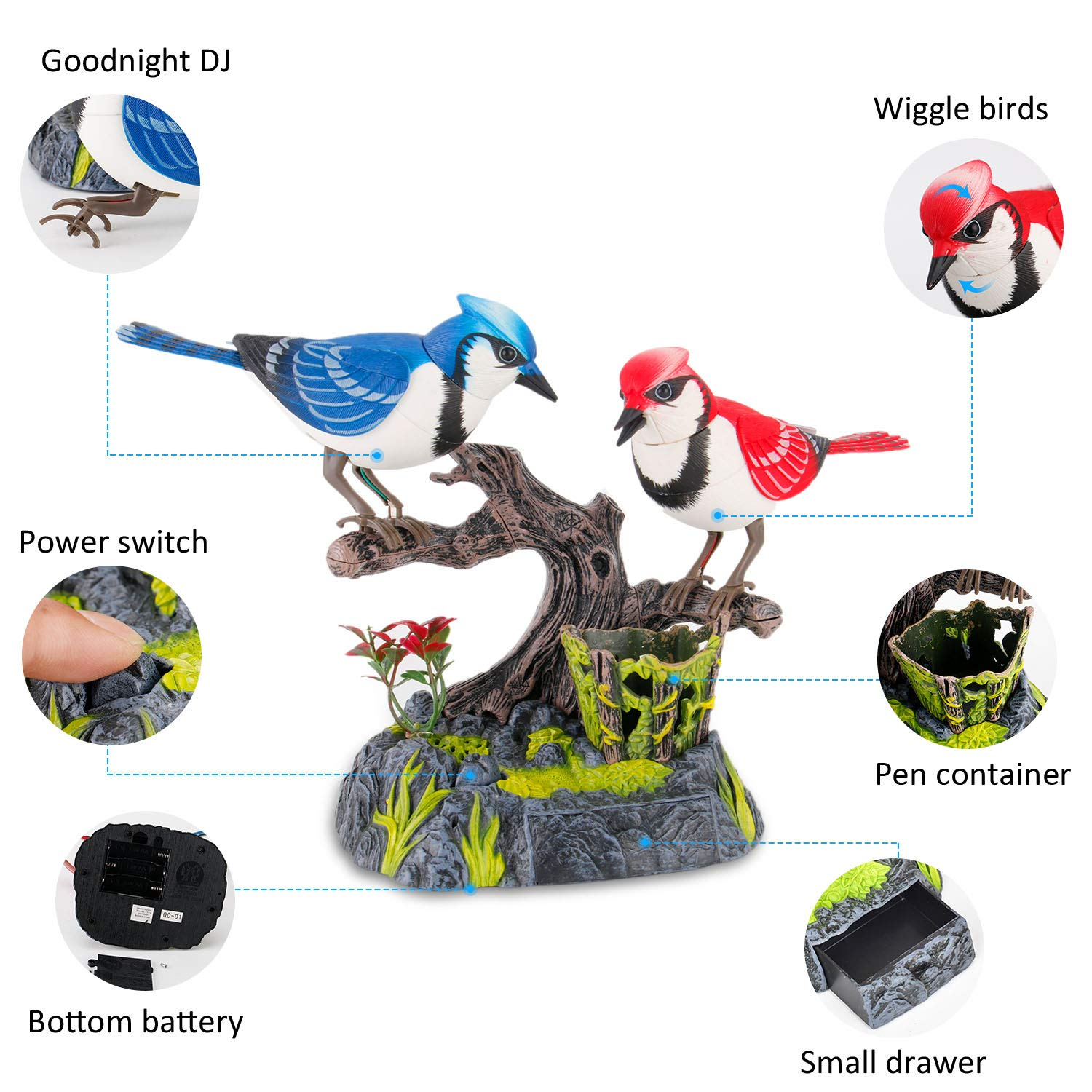 Liberty Imports Singing and Chirping Birds - Realistic Sounds and Movements (Blue Jays) by Liberty Imports (Image #3)
