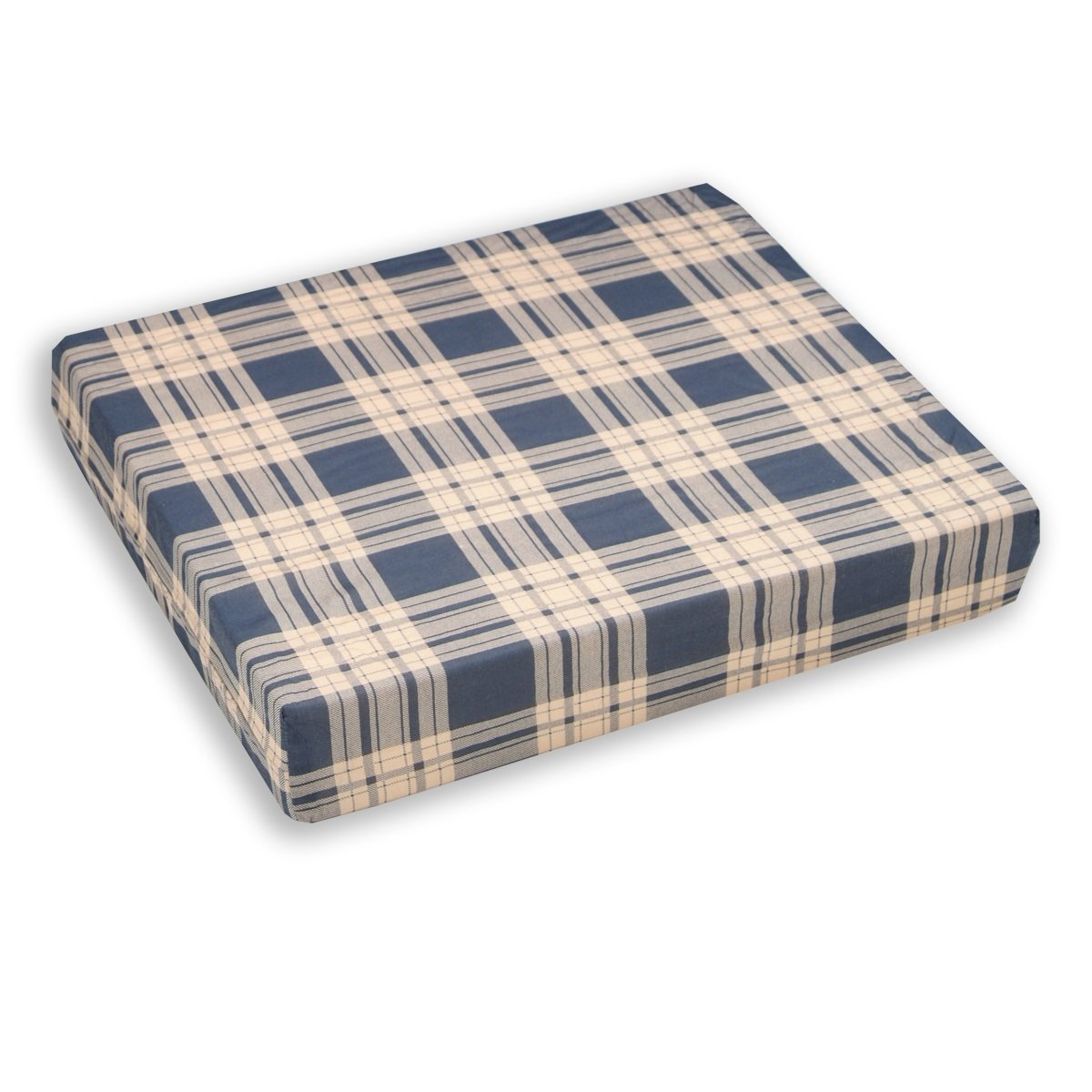 Egg Crate Foam Wheelchair Cushion, Plaid Cover - 4 Inch Thick - Helps Distribute Weight, Medical Grade Comfort, Reduce and Prevent Pressure Sores - By Hermell Products by Hermell Products Inc.