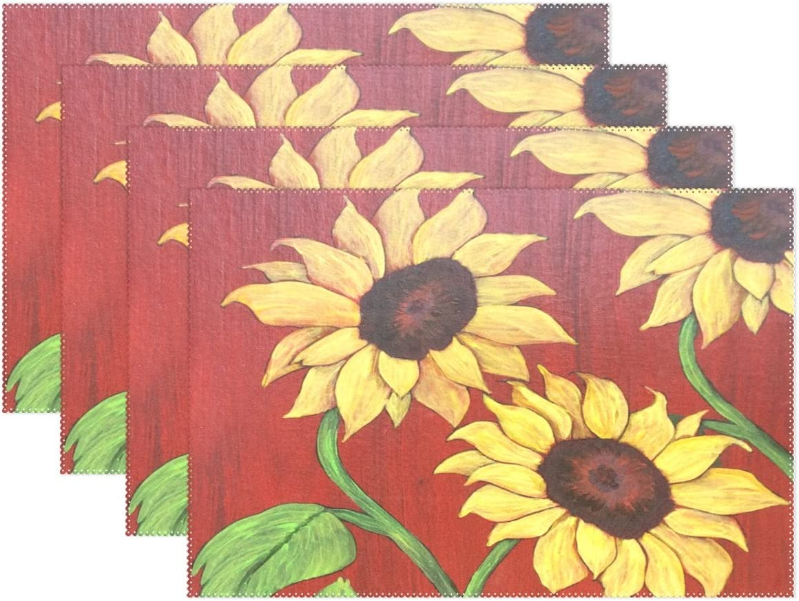 Amazon Com Lavovo Vintage Sunflower Placemats Plate Holder 12 X18 Heat Resistant Stain Resistant Table Mats For Kitchen Dining Room Set Of 6 Home Kitchen