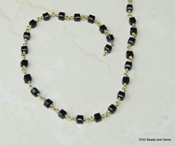 3-3.50 mm 5BGI642 Quartz Faceted Wire Wrapped Rosary Chain Black Hydro Quartz Faceted Rosary Beaded Chain