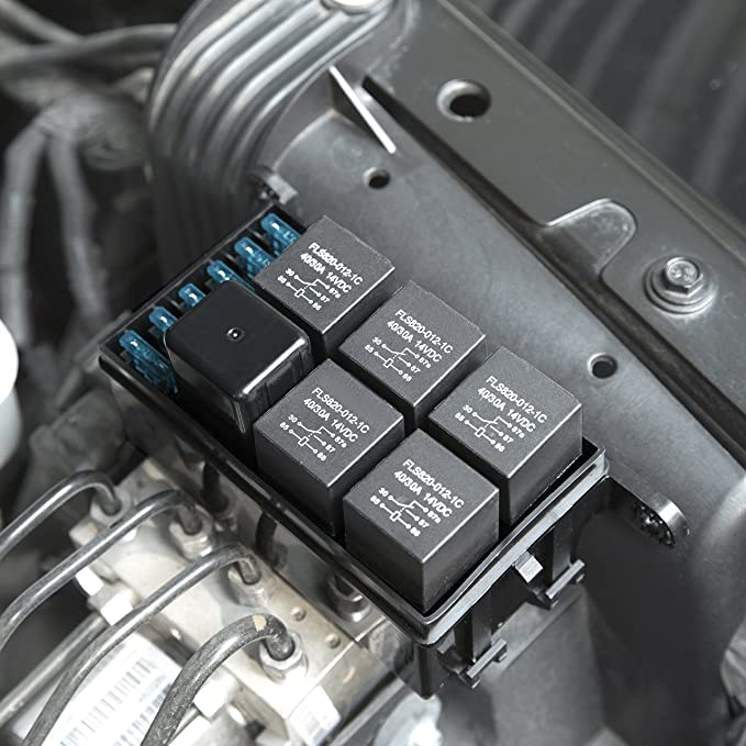 DEDC Caja de Fusibles Coche 6 Vias Relés 6 Hojas Fusibles Protección de Sobrecarga Seguro Universal para Coche Auto Vehículos: Amazon.es: Coche y moto