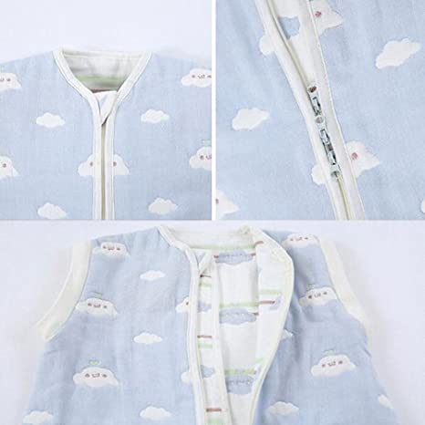 Saco de dormir para bebé manga larga - Garcon - niña pijama niño todas las estaciones Confort combinación de patas Six pañales de gasa.