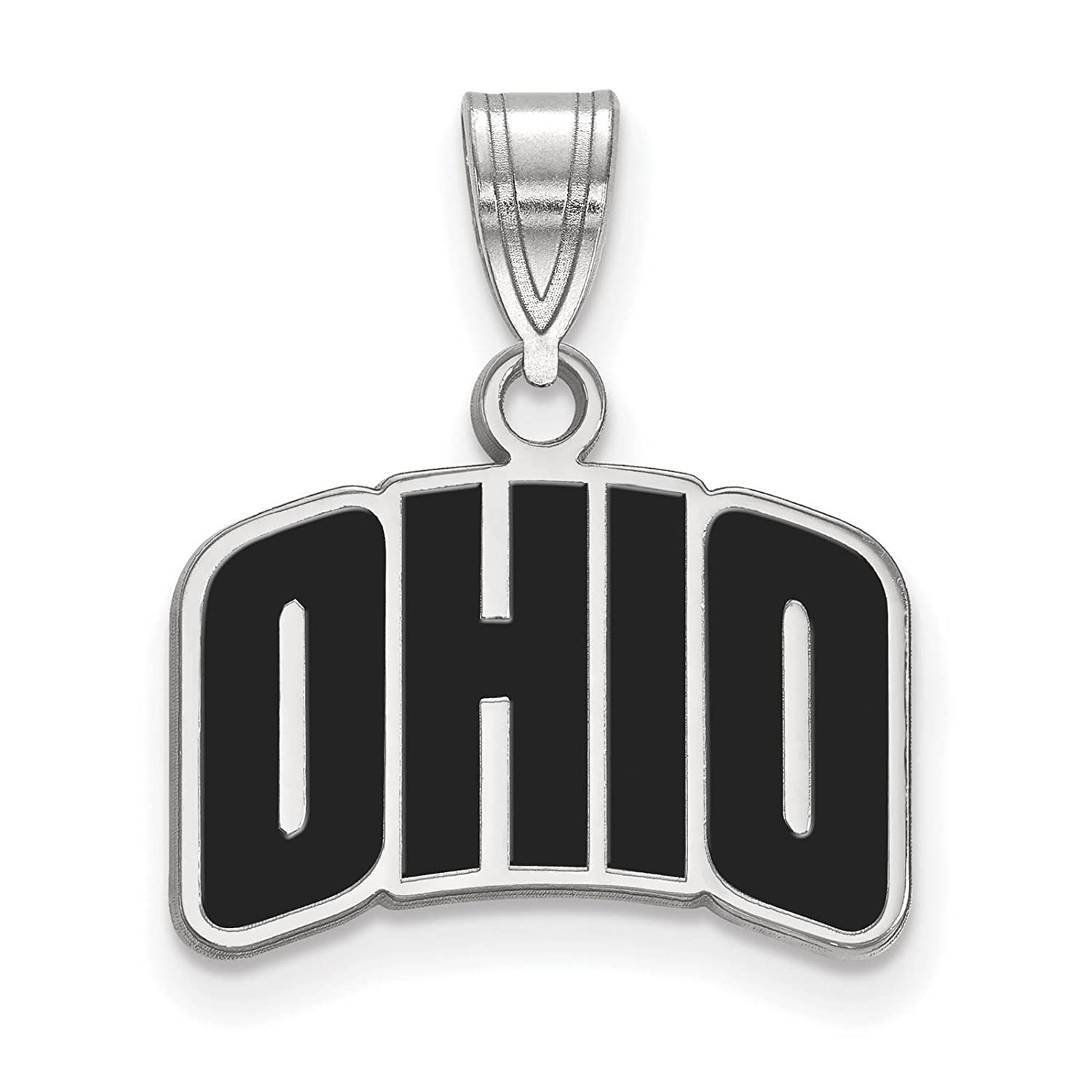 925 Sterling Silver Rhodium-plated Laser-cut Ohio University Small Enameled Pendant