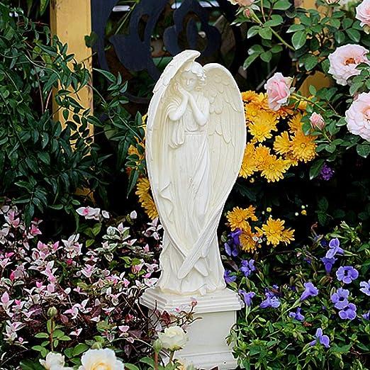 zenggp Niña ángel En Pedestal Resina Grandes Alas Querubín Figura Tumba Decoración Jardín Memorial Ornamento Pérgola Estatua: Amazon.es: Hogar