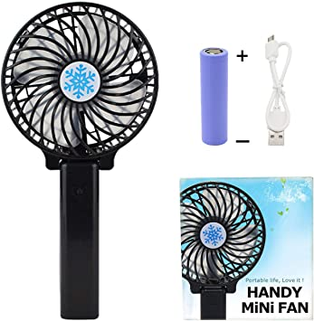 Dygzh Mini Desktop Personal Fan Handheld Mini Fan with LD lamp Travel Camping 3 Speed Rechargeable 2000 mAh Battery Strong Wind in The Home Office Color : Blue, Size : Free Size Quiet Operation