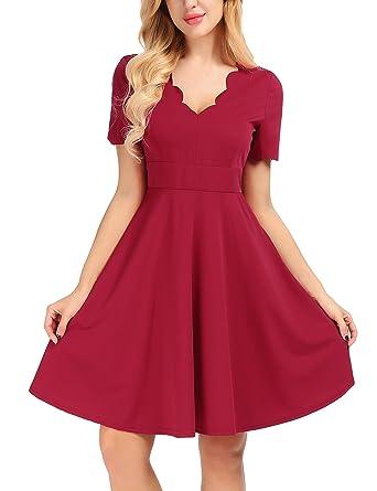 26505bf6852 Amazon.com  Uniboutique Women V Neck Short Sleeve Sweet Scallop ...
