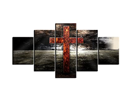 AMEMNY Christian Art Jesus Red Cross Wall Canvas Painting Print Poster 5 Panel Black And