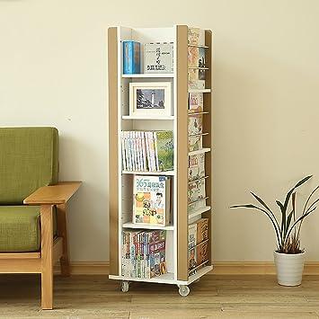 MMM Simple Furniture Mobile Bookshelf Pulley Rotate High Capacity Shelf Magazine Shelves Newspaper Stand