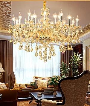WQRTT® Europäische Luxus Kristall Kronleuchter Wohnzimmer Mit Schlafzimmer  Lichter Champagner Gold Kristall Kronleuchter , 18