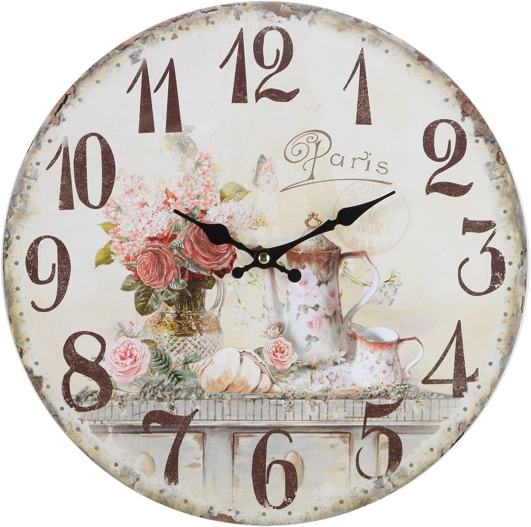Amazon Com Lily S Home Vintage French Kitchen Wall Clock Crafted With A Beautiful Distressed Design And French Tea Time Illustration 13 Inches Home Kitchen
