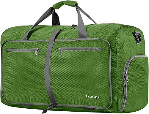 Gonex 80L Packable Travel Duffle Bag Foldable Duffel Bags for Luggage Gym Sports Camping Travelling Cycling Storage Shopping Water Tear Resistant