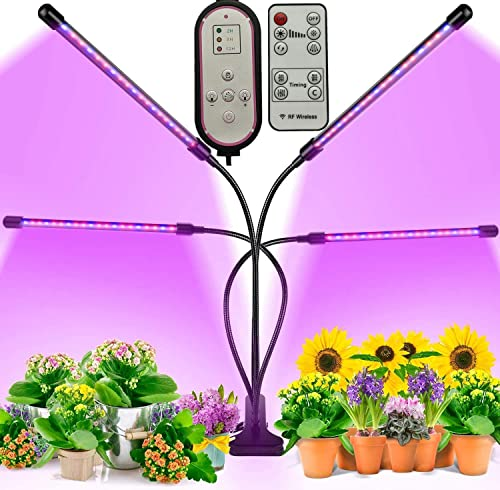 Grow Light,BIRDBELL Remote Control Grow Lights for Indoor Plants, 4 Headed Plant Light for Succulents , 80 LED Grow Lights for Indoor Plants Spectrum