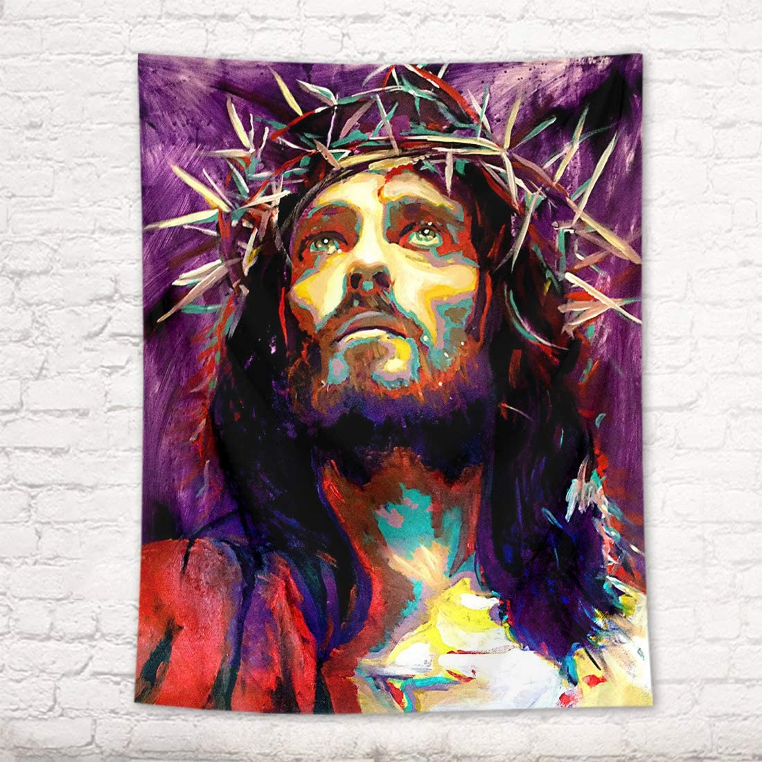 HVEST Jesus Tapestry Christian Faith Christmas Tapestries Portrait Watercolor Church Tapestry Wall Art Decor Hanging Blanket for Living Room Bedroom Dorm Home Decoration 71X92.5 Inches 180X235CM