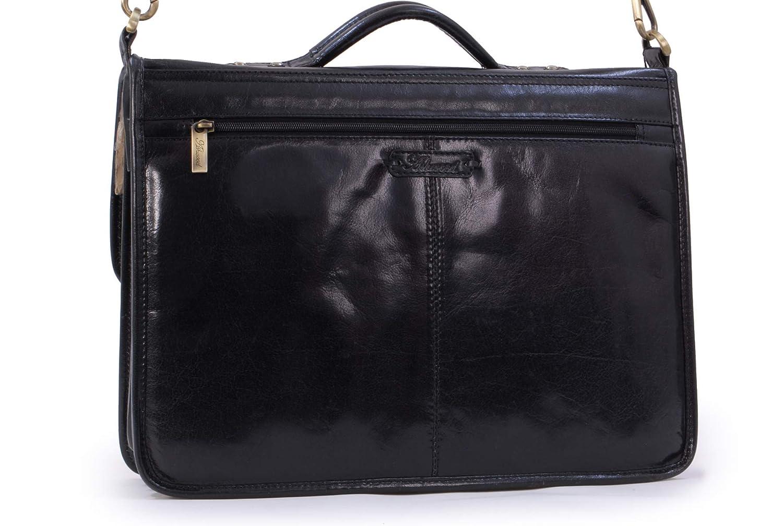 b5fcfeac3f Ashwood Large Leather Briefcase Laptop Bag - 8190 - Black  Amazon.co.uk   Luggage