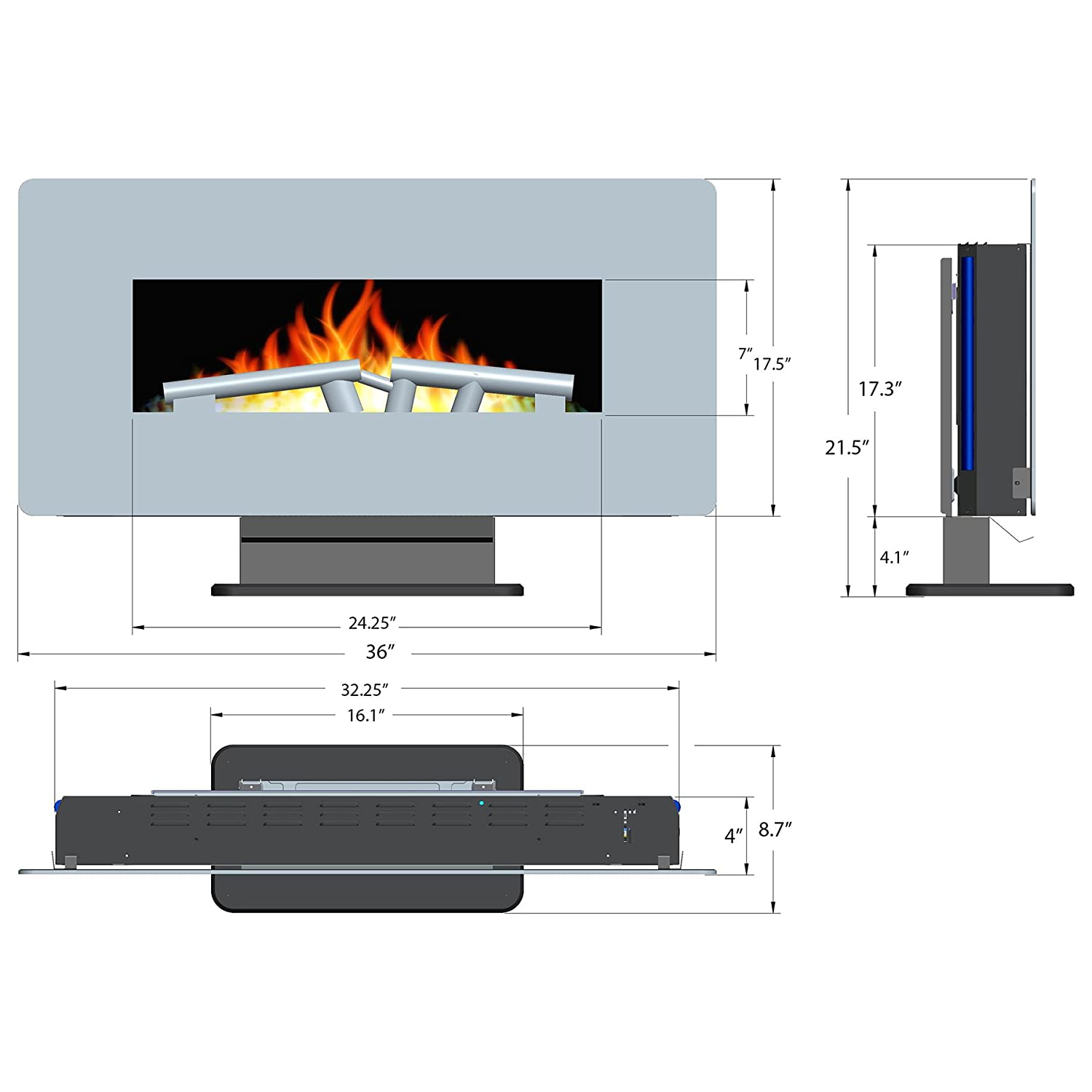 Amazon.com: 36-Inch Electric Wall Mount Fireplace Heater W/Remote ...