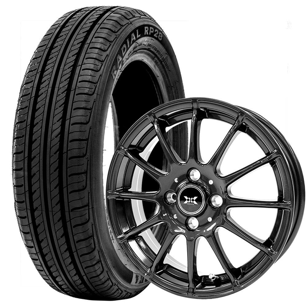 サマータイヤ ホイールセット 155/65R14 4本セット 軽自動車等 エコタイヤ (ブラック)(GOODRIDE) 2017年製 エコタイヤ RP28 B07CJFKVN6