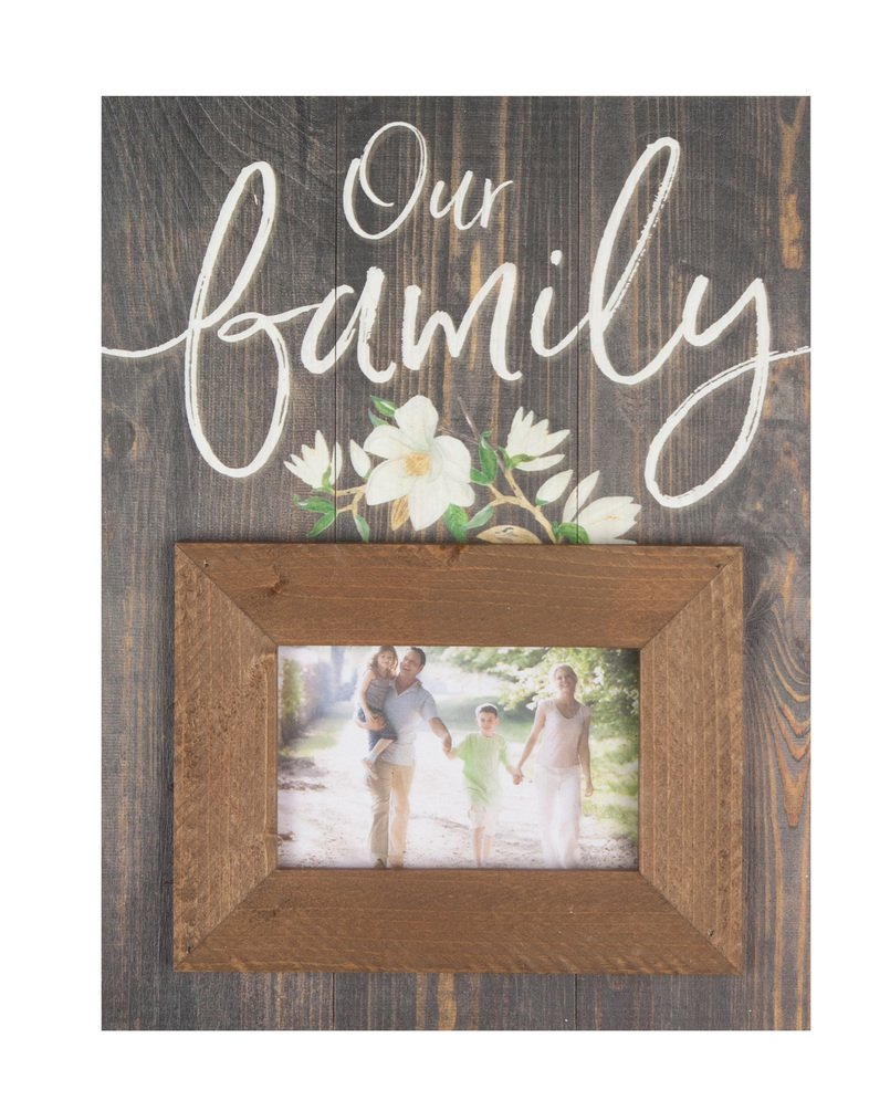 P. GRAHAM DUNN Our Family Floral Rustic Brown 17.5 x 17 Wood Wall Hanging Photo Frame Plaque