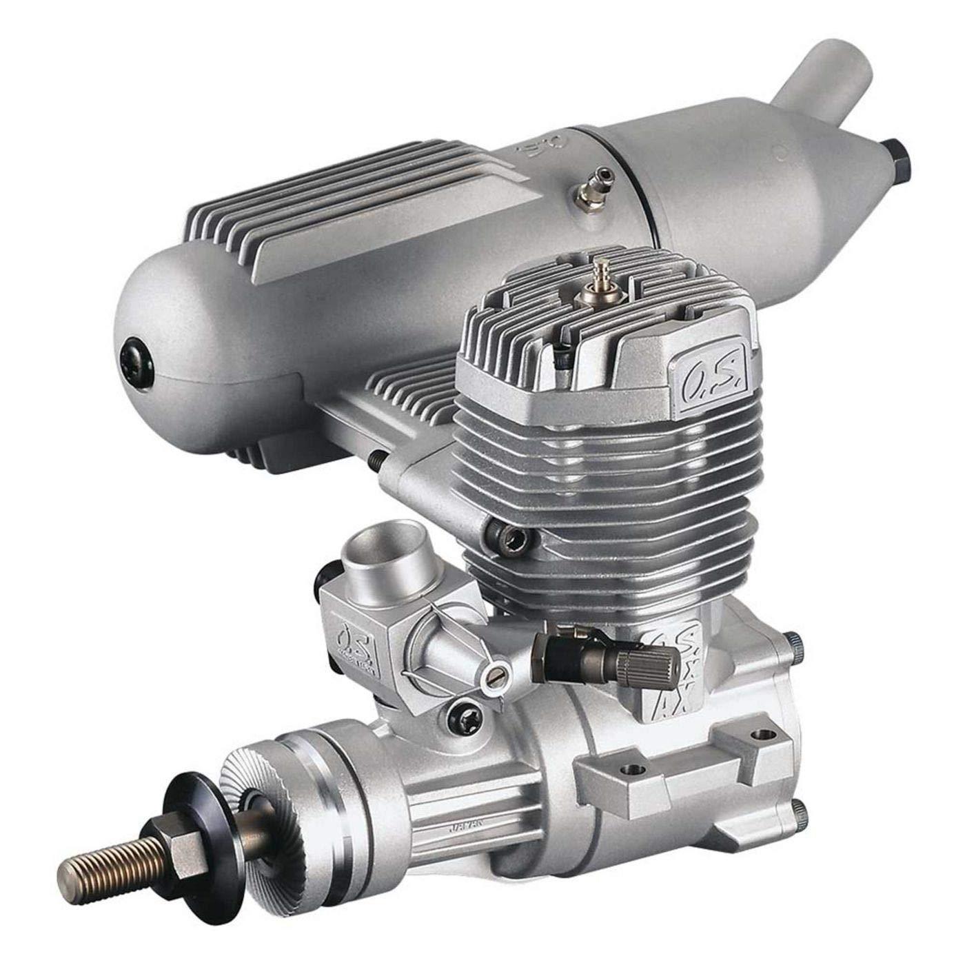 O.S. 65AX Glow-Powered Aircraft Engine with Advanced Bimetallic Liner and E-4010A Muffler