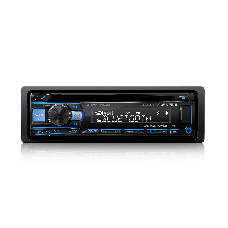 Black Alpine Electronics CDE-203BT CD and Bluetooth Car Radio 1DIN