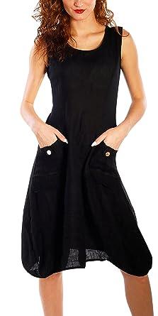8151d33dc4ee Yidarton Femme Robe été sans Manche à Bretelle Casual Lin Vintage Top  Tunique Longue(Noir