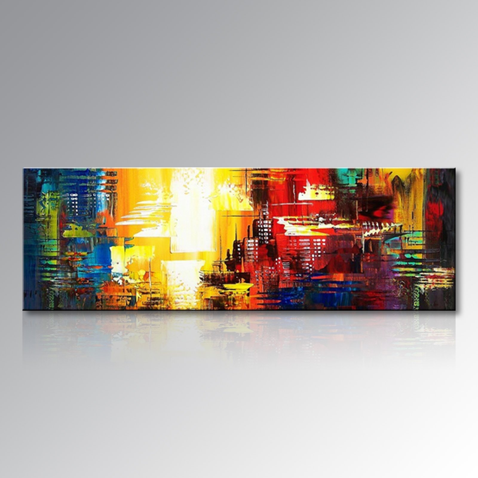 Seekland Art Hand-painted Wall Art Canvas Abstract Wall Decor Picture Acrylic Painting for Living Room Unframed (Framed 48'' W x 16'' H)
