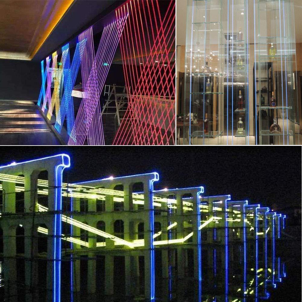 Huaxi Ф0 19in(5mm)16 4ft(5m) PMMA Plastic Side Glow Optical Fiber Light  Cable Car Home Use Fiber Optic Lighting Decoration