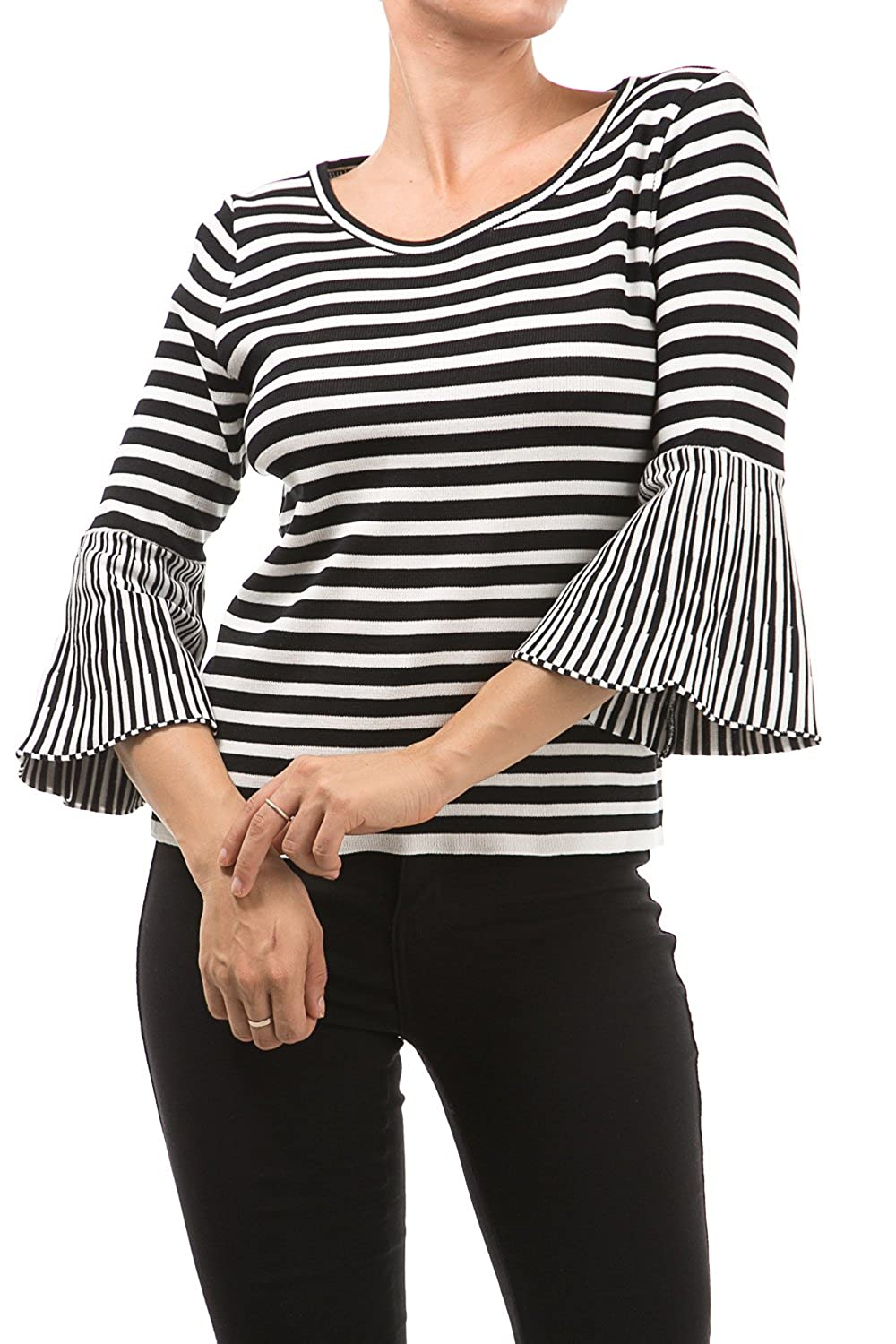 Bangbangusa Women Round Neck Stripes Pull Over Fashion Top With Bell Sleeves