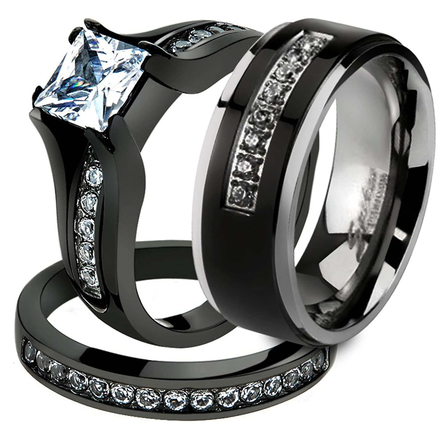 Amazon.com: Her U0026 His 3 Pc Black Stainless Steel Engagement Wedding Ring  Set U0026 Titanium Band Size Womenu0027s 05 Menu0027s 09: Jewelry Awesome Design
